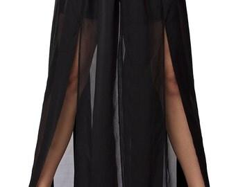 Maxi Black Skirt/Asymmetric Loose Skirt/Long Skirt/Elegant