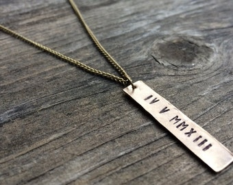 Customize Hand Stamped Bar Pendant