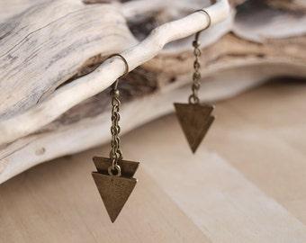 Gold Geometric Triangle Earrings, Modern Triangle Dangles, Tribal