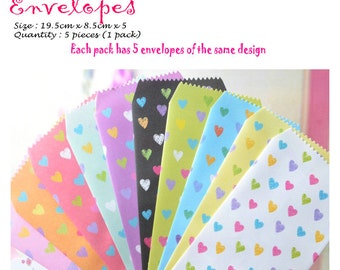 Colourful and Cute Envelopes Pack of 5 Loves