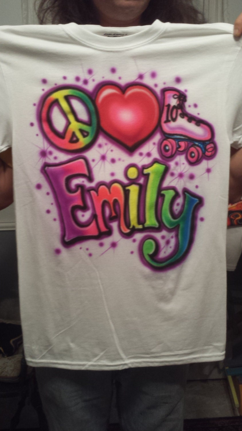 Custom airbrush t shirt freehand not stencil peace love for Custom made airbrushed shirts