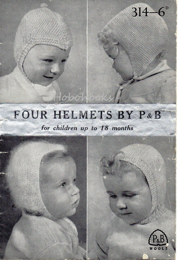 Vintage Balaclava Knitting Pattern : Vintage baby hats knitting pattern PDF Baby Helmets Balaclava