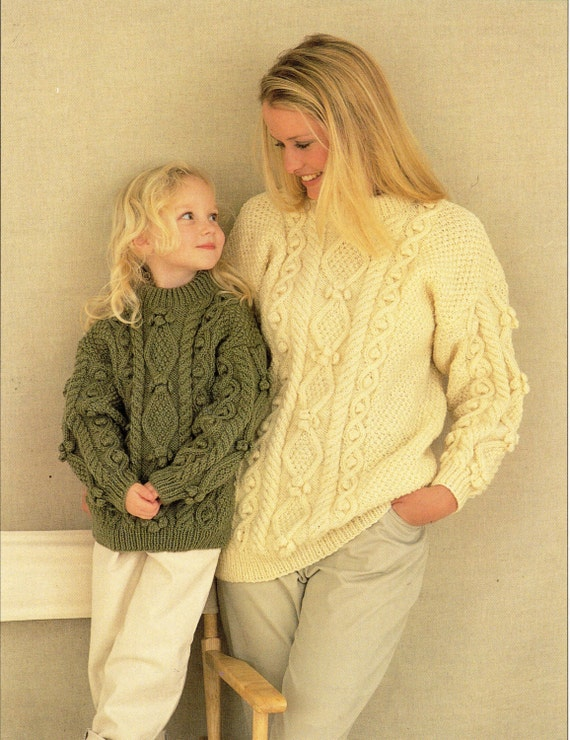 Lions Brand Free Knitting Patterns : Womens Aran Sweater Knitting Pattern Ladies Aran Sweater Girls