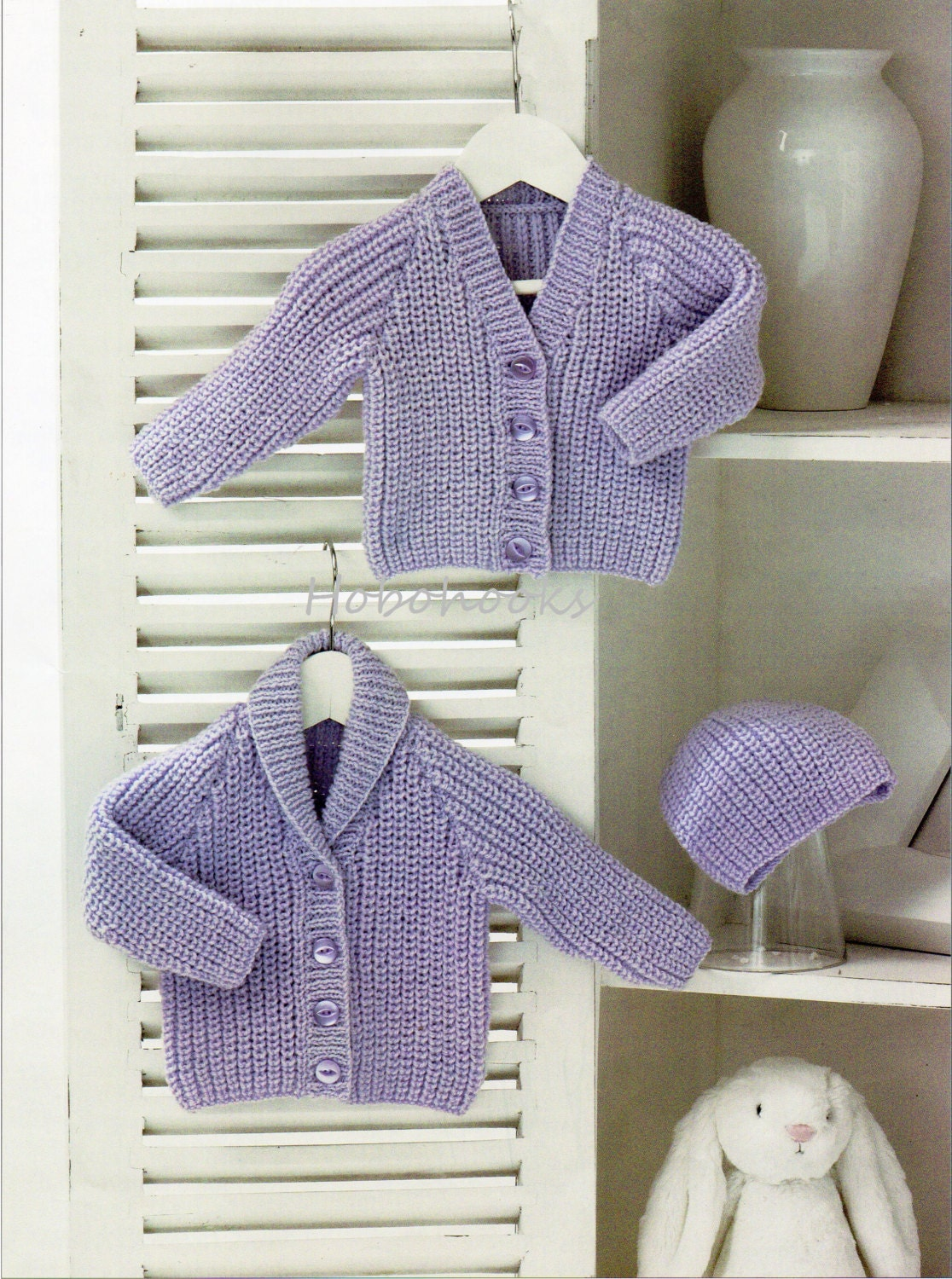 Baby Shawl Collar Knitting Pattern : Baby Knitting Pattern Baby Ribbed Cardigans Hat Shawl Collar V