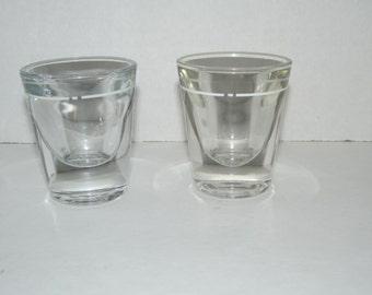 Vintage pair of Glass Shot Glasses / Barware / Shots