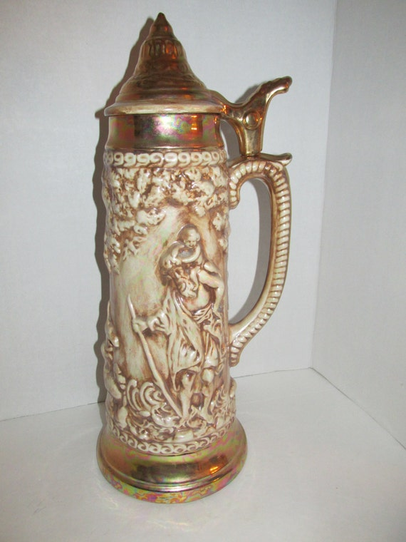 vintage huge 18 inch german beer stein tankard garden of eden. Black Bedroom Furniture Sets. Home Design Ideas