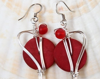 Big Red Earrings, Valentines Day Earrings, Red Jewelry, Colorful Jewelry, Bold Earrings, Costume Jewelry, Fun Fashion