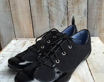 Stuart Weitzman Shoes - Women Size 8 - Black Patent Shoes - black patent leather shoes - black dress shoes - Weitzman Sneakers