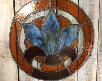 Stained Glass Suncatcher - Stained Glass Window Art - Sun Catcher - Stained Glass Panels - Wild Flower - Iris Flower Art