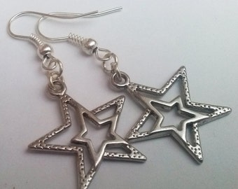 Silver Star Earrings , Celestial Earrings , Silver Earrings , Shooting Star , Handmade Jewelry , Handmade Jewellery , Dangling Earrings