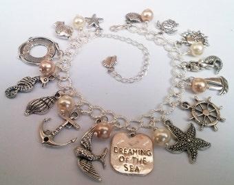 Sea Charm Bracelet , Dreaming of the Sea , Beach Charm Bracelet , Shells Charm Bracelet , Nautical Charm Bracelet , Mermaid , Fish , Holiday