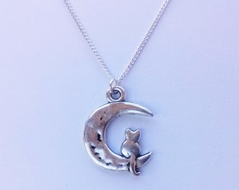 Cat Moon Necklace , Cat Necklace , Silver Moon Necklace , Silver Necklace , Cat Lady , Celestial Necklace , Handmade Jewellery , Cat Lover