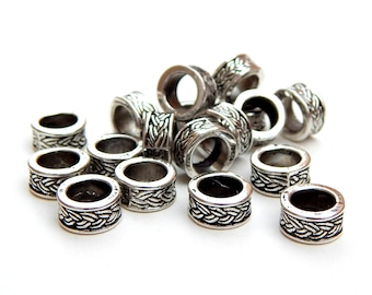 Hair Beads, 9mm, 10pcs, Dread Beads, European Spacer Bead, Celtic, Big Hole, Antique Silver, Lead Free, Viking Beard Beads