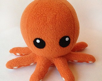 Cuddly Fleece Octopus Plush - Orange