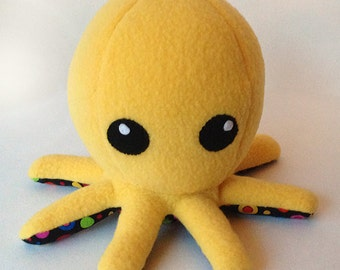 Cuddly Fleece Octopus Plush - Yellow