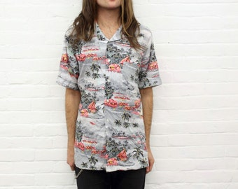 Wild Times ... vintage print hawaiian shirt from the 1980's / 1990's by Enro, size medium to large