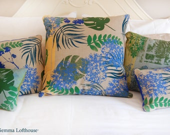 "Hydrangea Hand-Printed Bespoke Cushion - Greens/Blues On Natural 24""x24"""