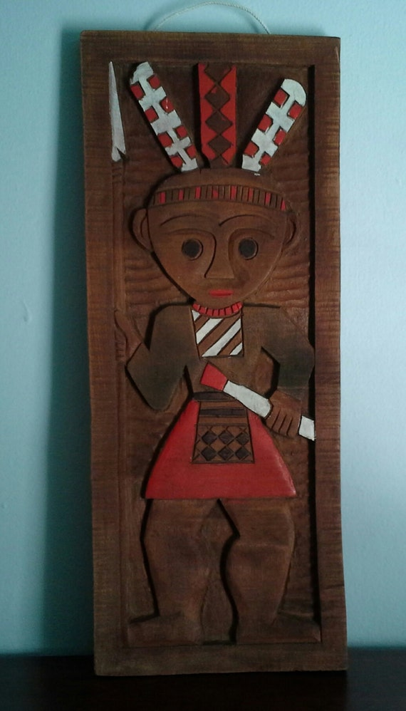 Carved Wood Tribal Wall Hanging