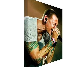 FREE SHIPPING: Linkin Park Chester Bennington Portrait Canvas Art Painting