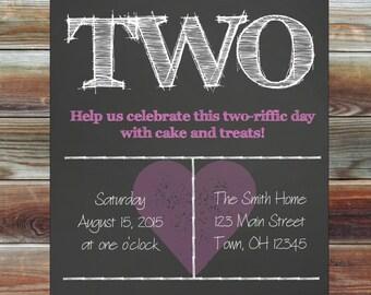 Chalkboard Pink Heart Theme 2nd Birthday Invitation - Chalkboard Second Birthday Party Invitation - Custom Pink Heart Girl Birthday Invite