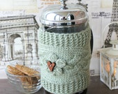 Valentine's Day Gift French Press Coffee Tea Pot Cozy Warmer Gray Green Cozy Girlfriend Gift Mom Sister Wife Gift 1 litre/8-12 cup Customize