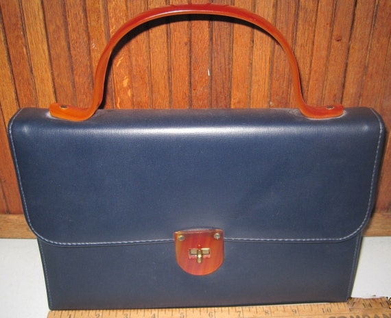 VTG Blue Leather Handbag with Lucite Accents