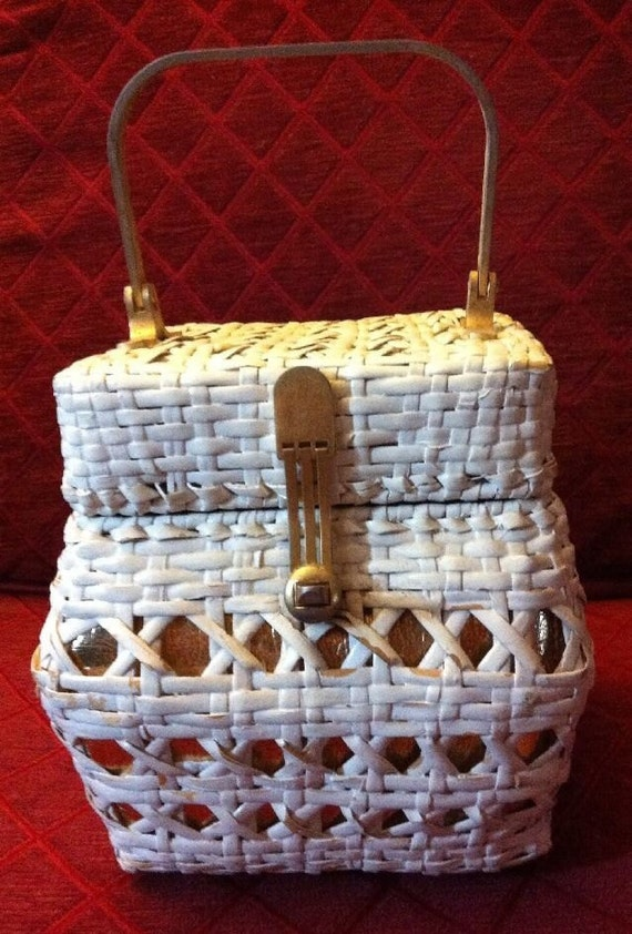 Gold and White VTG Wicker Bag by Walborg.  Made in Italy.