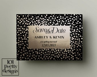 Gold foil save the date template, printable save the date design, art deco save the date template, digital design, golden save the date card