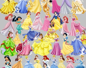 Disney Princesses Clipart Party 35 PNG Set Ariel Jasmine Snow White Cinderella Clip Art Invitations Printable Digital Clipart Graphic 300dpi