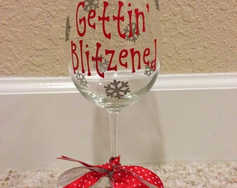 Gettin Blitzened Christmas Stemmed Wine Glass Red Silver, Christmas Wine Glass, Snowflakes