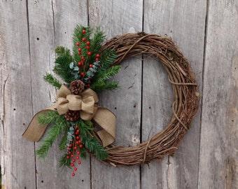Winter Wreath, Holiday Wreath, Christmas Wreath, Front Door Wreath, Country Christmas, White Christmas, Grapevine Wreath, Burlap Ribbon