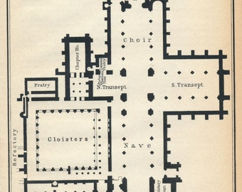 1910 Chester Cathedral United Kingdom (Great Britain) Antique map