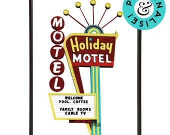 Retro Americana Holiday Motel Sign Pop Art Print