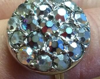 """Sarah Coventry """"Bewitching"""" 1965 Rhinestone Aurora Borealis Ring"""