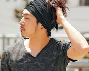 Double Loop Wide Headband | Yoga Headband | Head Wrap Bandana Turban | Elastic Head Band | Soft Yoga Hair band | Japanese Head Scarf th-smv