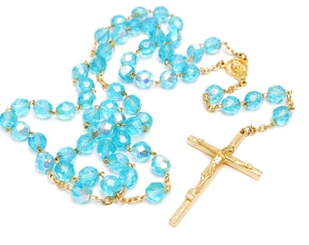 Vintage sparkling blue turquoise gold rosary necklace with facetted glass beads Virgin Mary and Jesus crucifix, marked Italy Roma, 1960s