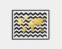 Black and White Chevron Map, Gold Foil Map, Black and Gold Map, Chevron Map, Dorm Decor, Dorm Art, Apartment  Decor