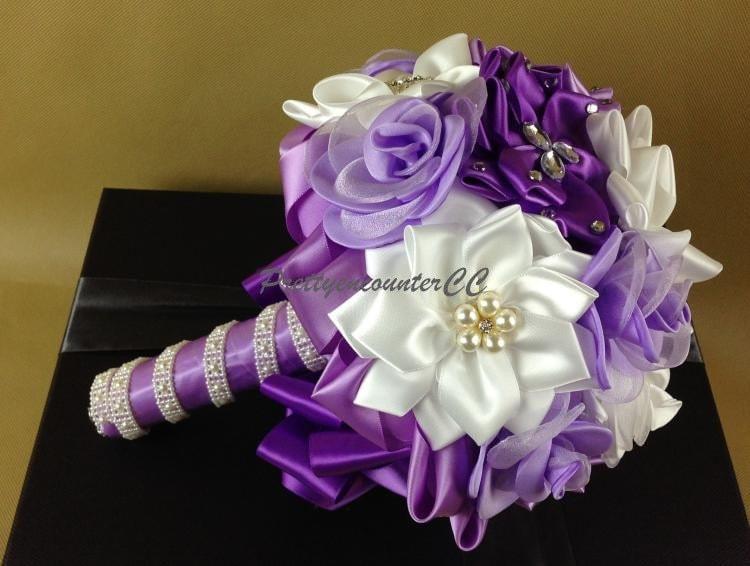 Homemade Wedding Bouquets Silk Flowers : Lavender wedding bouquet flowers silk handmade