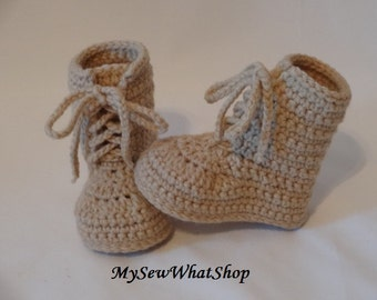 "Boy's or Girl's Crochet Army Combat Boot""ies"" - 0 to 6 Months and 6 to 12 Months"