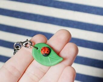 Lady Bug on Leaf Charm