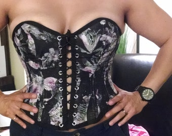 custom made steel boned corset: front and back lacing, silk, with privacy panel