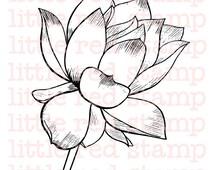 Lotus Flower Digi Stamp Instant Download Drawing Printable Line Art Scrapbooking Decoration Illustration Card Making Handdrawn Coloring