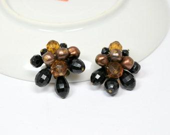 Vintage Clip Earrings W. Germany Signed Brown Black Amber Beaded Clip Earrings Vintage Jewelry