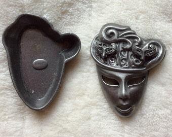 Vintage Pin & Earrings Set - Masquerade Mask - Torino Pewter