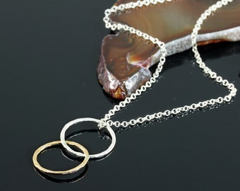 Infinity Necklace, Interlinked Circles Necklace, Two Tone, 925 Sterling Silver, 14K Gold Filled,Figure 8,Eternity Y926