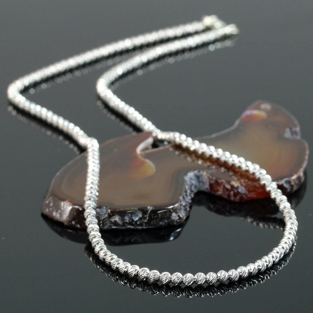 Beaded Diamond: Dazzling Beaded Silver Necklace Diamond Cut Beads Rhodium