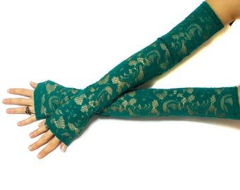Isadona // Extra Long Green Gloves, Belly Dance Costume, Lace Party Gloves, Lace Fingerless Gloves, Fantasy gloves