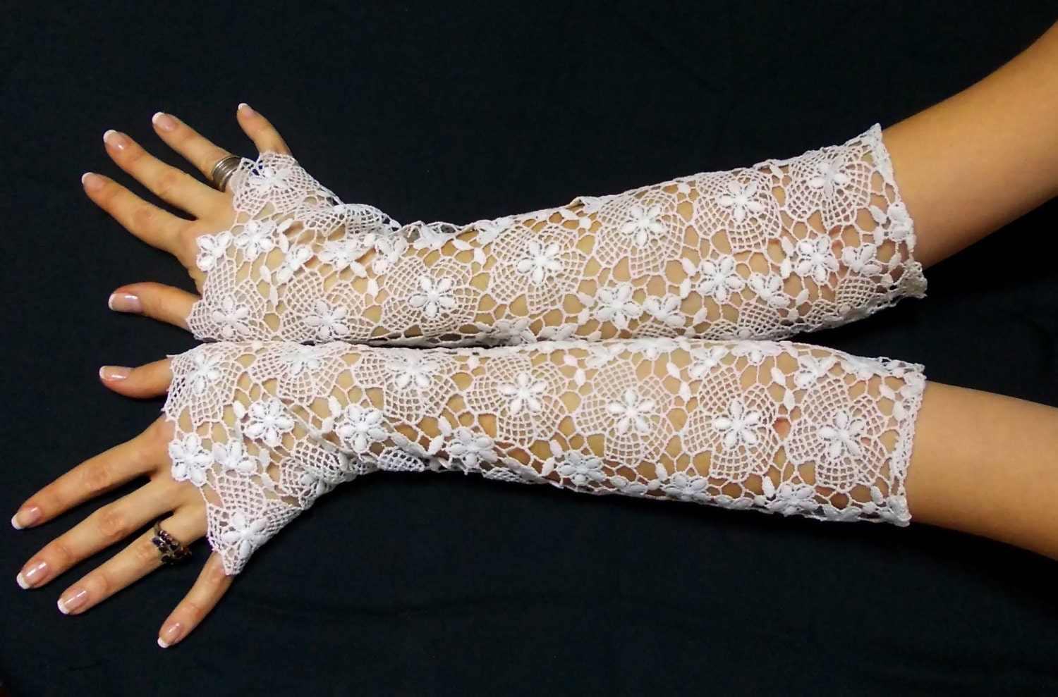 Extra Long White Gloves French Lace Gloves Women's gown