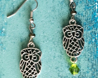 Owl Earrings with Green Gems