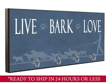 Blue Live Bark Love Dog Leash Holder, Dog Leash Hook, Wall Key Holder, Key Rack, Decorative Key Hook, Brown Home Decor